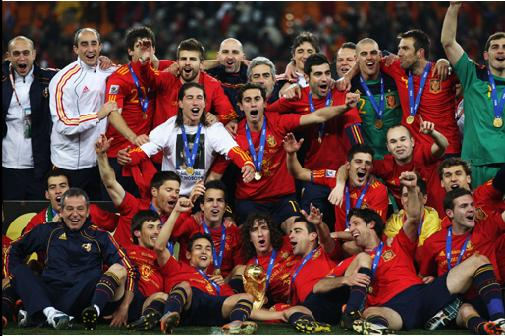 2010 FIFA World Cup Champions Spain: Team Players and Trophy during the 2010 FIFA World Cup South Africa Final match between Netherlands and Spain at Soccer City Stadium on July 11, 2010 in Johannesburg, South Africa