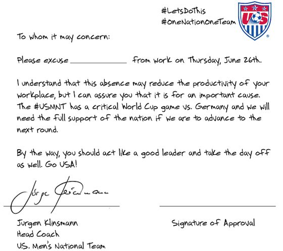 USA Soccer Coach Pens 'Get Out of Work' Note for World Cup Match | World Cup