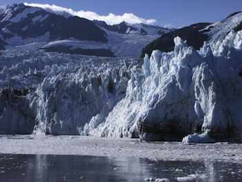Alaska - Moving in close to see the 1,000-year-old dirt bands in a tidewater glacier