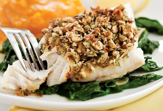 Almond and Lemon Crusted Fish with Spinach Recipe