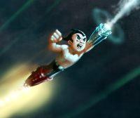 Freddie Highmore & Kristen Bell in the movie Astro Boy