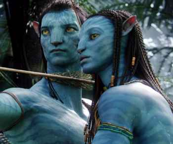 Sam Worthington & Zoe Saldana in the movie Avatar