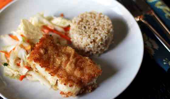 Baked Panko Rockfish with Gingery Cabbage Recipe