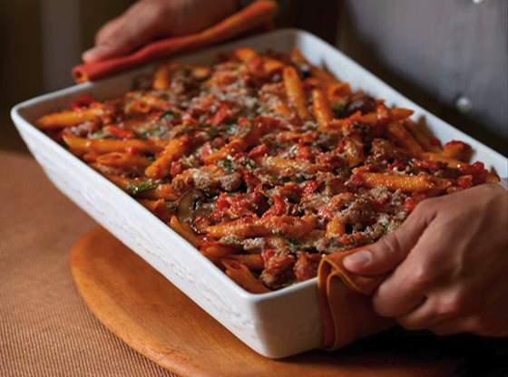 Baked Penne Pasta with Tomato Red Pepper and Sweet Sausage Sauce Recipe