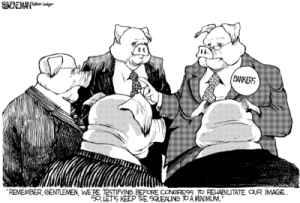Sheneman, Drew - Editorial Cartoon  | Why are Bankers Still Being Treated as Beltway Royalty | Arianna Huffington