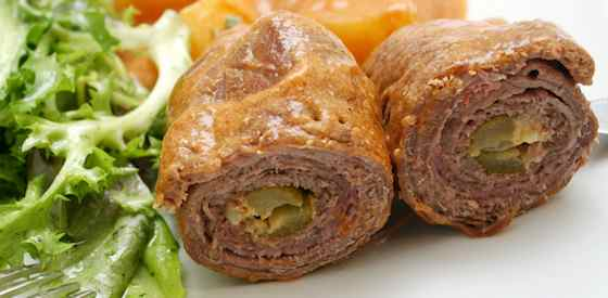 Beef Rouladen with Brunoise Vegetables and Red Wine