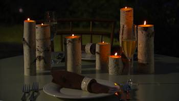 Candleholders and napkin rings made of birch bark.
