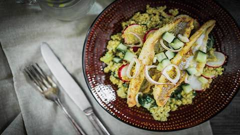 Blackened Catfish with Quinoa and Citrus Vinaigrette Recipe