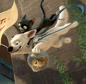 Bolt Rhino and Mittens in Walt Disney Pictures Bolt Bolt Movie Review (1 1/2 Stars) Disney animated feature Bolt Movie review trailer