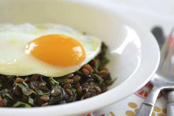 Braised Lentils and Chard Topped with an Egg Recipe