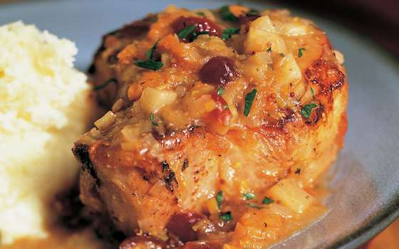 Braised Pork Chops with Cider and Dried Fruit Recipe