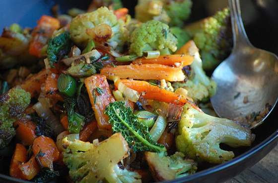 Broccoflower, Carrot and Leek Ragout with Thyme, Orange and Tapenade Recipe