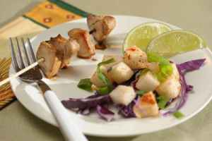 Broiled Pork Kebabs and Jicama, Cabbage & Scallion salad