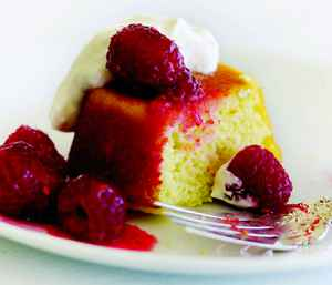 Buttermilk Pudding Cakes with Sugared Raspberries Dessert Recipe ...