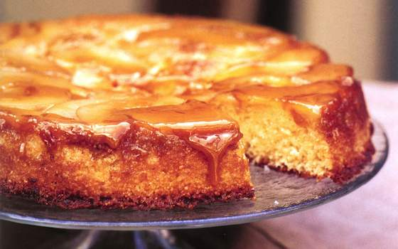 Caramelized Pear and Almond Upside-Down Cake Recipe
