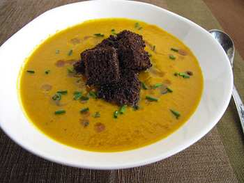One For The Table: Carrot-Ginger Soup with Pumpernickel Croutons