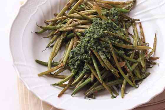 Charred Green Beans with Almond Marjoram Pesto Recipe