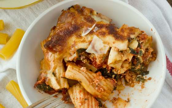 Cheesy 'Baked' Spinach and Mozzarella Rigatoni Recipe