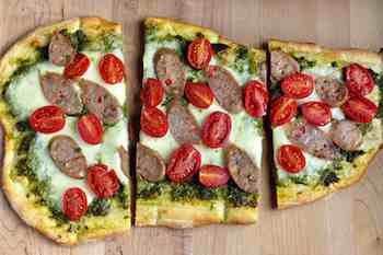 Cherry Tomato, Mozzarella and Sausage Pizza - Looking for Something New for the Grill? Try Pizza Dessert