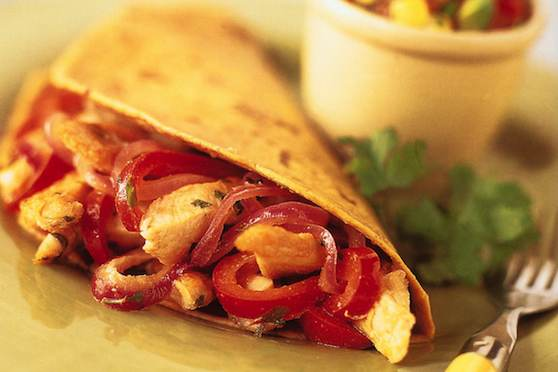 Chicken Fajitas with Avocado-Corn Salsa and Warm Corn Tortillas Recipe