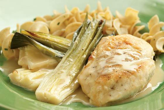 Chicken with Creamy Braised Leeks Recipe