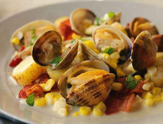 Clams Steamed with Corn, Bacon and Fingerlings Recipe
