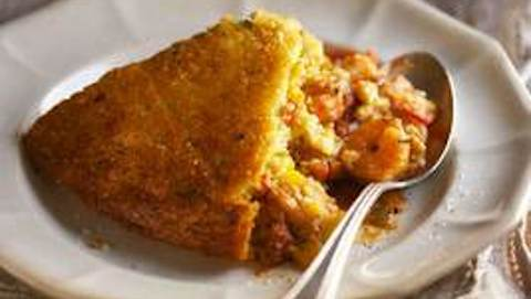 Confetti Corn Bread-Crusted Shrimp in Creole Filling