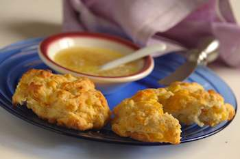 Corn Biscuits with Hot-Sweet Butter Sauce