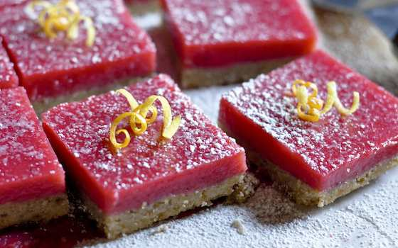 Cranberry Curd Bars with Walnut Shortbread Crust Recipe