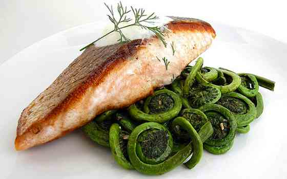 Crispy Pan-Seared Salmon with Sauteed Fiddlehead Ferns Recipe