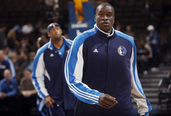 Dallas Mavericks center DeSagana Diop warms up prior to a game against the Denver Nuggets in 2009.