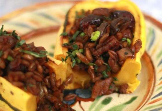 Delicata Squash Stuffed with Mushrooms, Farro, Pecans and Dried Cranberries Recipe
