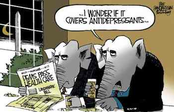 Walt Handelsman Dems Pass Healthcare Reform Healthcare Bill will cut deficit by $138 Billion