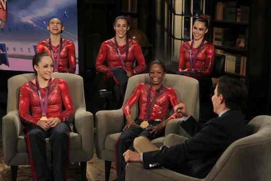 US Women's Gymnasts -- Pictured: (l-r) Kyla Ross, Jordyn Wieber, Aly Raisman, McKayla Maroney, Gabby Douglas, Bob Costas -- (Photo by: Paul Drinkwater/NBC)