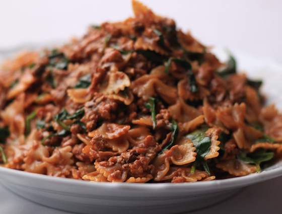 Farfalle Abruzzese with Veal, Porcini and Spinach Recipe