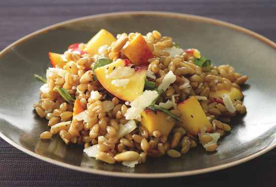 Farro Salad with Nectarines, Basil and Toasted Pine Nuts Recipe