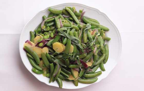 Favas and Sugar Snap Peas with Potatoes and Tarragon Recipe