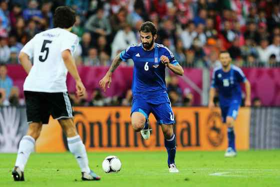 Grigoris Makos of Greece with the ball  (Photo by Joern Pollex/Getty Images)