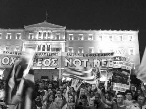 A small section of the jam-packed June 29 crowd gathered outside parliament in support of a 'No' vote on further austerity measures. Photo by Kia Mistilis.