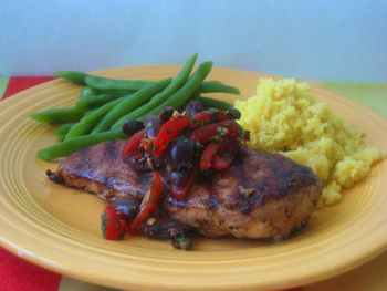 Grilled Chicken Breasts with Tomato Olive Relish
