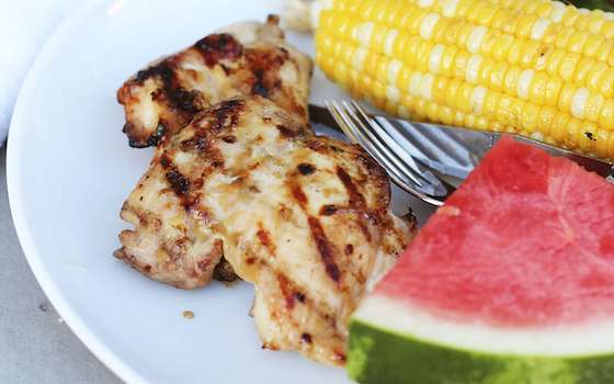 Grilled Chicken Thighs with Apricot-Miso Glaze Recipe