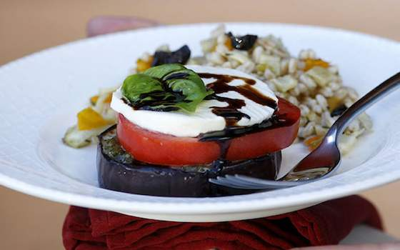 Grilled Eggplant, Tomato and Mozzarella Stacks Recipe