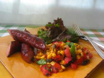 Grilled Kielbasa and Skillet Corn