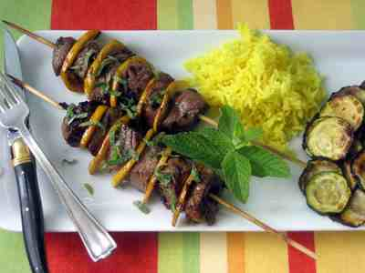Grilled Lemon and Mint Lamb Kabobs