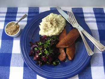 Grilled Sausages and Braised Red Cabbage with Apples Recipe