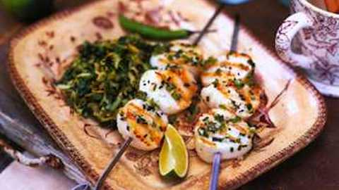 Grilled Scallop Brochettes with Almond Caper Relish