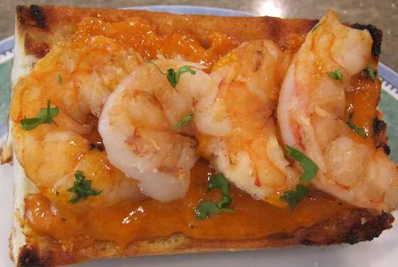 Grilled Shrimp Bruschetta with Romesco Sauce Recipe