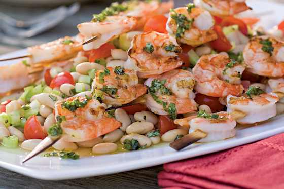 Grilled Shrimp Skewers over White Bean Salad Recipe
