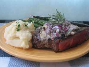 Grilled Sirloin Steaks recipe with Gorgonzola, Red Onions and Rosemary