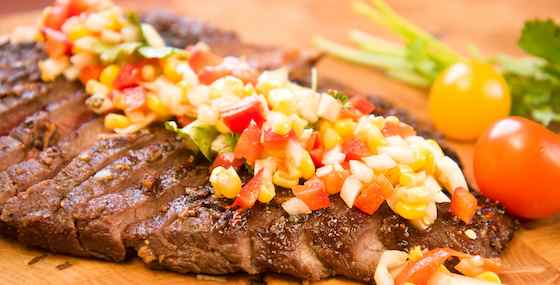 Grilled Skirt Steak with Corn, Avocado and Tomato Salsa